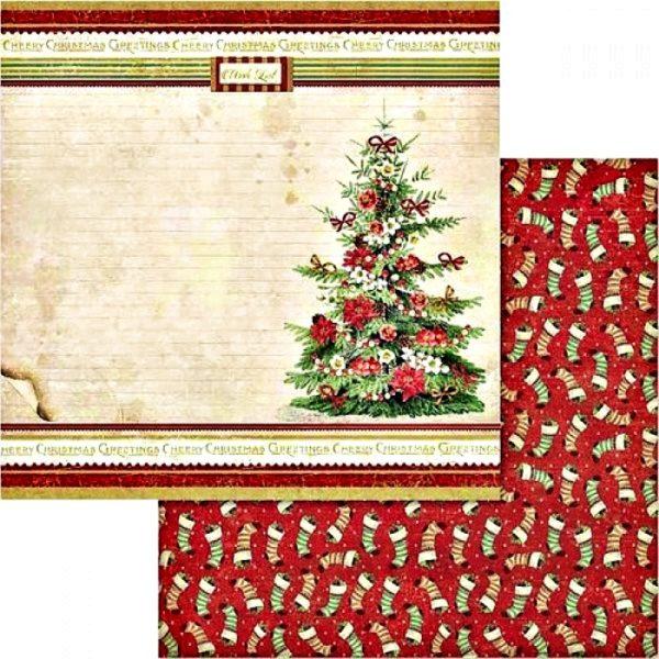 Χαρτί Scrapbooking 5002431 Stamperia Διπλής Όψης  - Χριστουγεννιάτικο Δέντρο & Κάλτσες - 31x30cm
