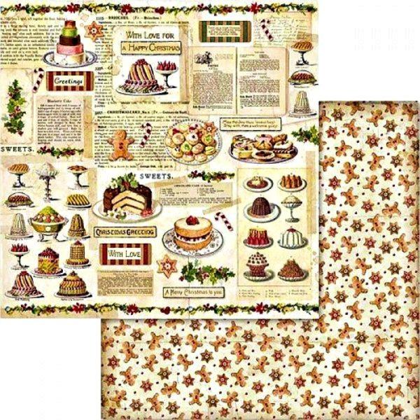 Χαρτί Scrapbooking 5002432 Stamperia Διπλής Όψης  - Χριστουγεννιάτικα Γλυκά - 31x30cm