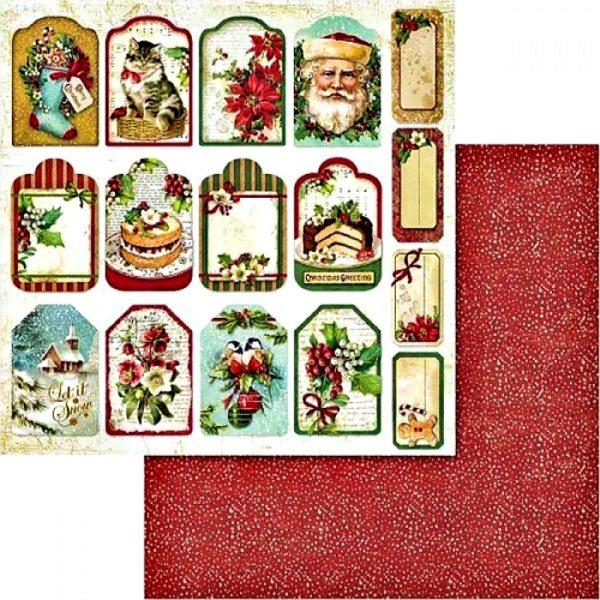 Χαρτί Scrapbooking 5002433 Stamperia Διπλής Όψης  - Χριστουγεννιάτικες Ταμπέλες - 31x30cm