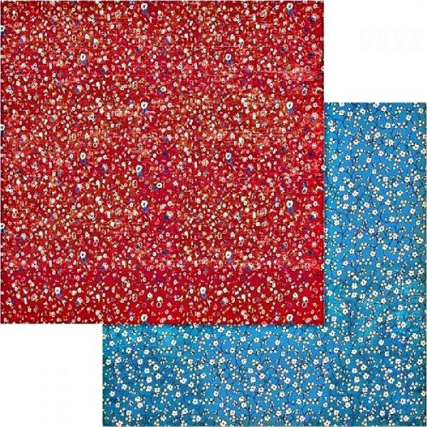Χαρτί Scrapbooking 5002437 Stamperia Διπλής Όψης - Λουλούδια Μοτίβο Κόκκινο Μπλε - 31x30cm