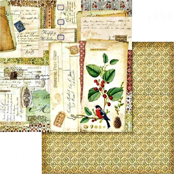 Χαρτί Scrapbooking 5002438 Stamperia Διπλής Όψης  - Βοτανικές Καρτ Ποστάλ - 31x30cm