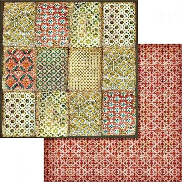 Χαρτί Scrapbooking 5002440 Stamperia Διπλής Όψης  - Βοτανικές Κάρτες & Kόκκινο Μοτίβο - 31x30cm