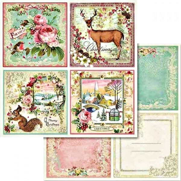 Χαρτί Scrapbooking 5002441 Stamperia Διπλής Όψης  - Pink Christmas & Cards - 31x30cm
