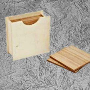 Ξύλινα  Τετράγωνα Σουβέρ με Θήκη LG87784 11x11x4.5