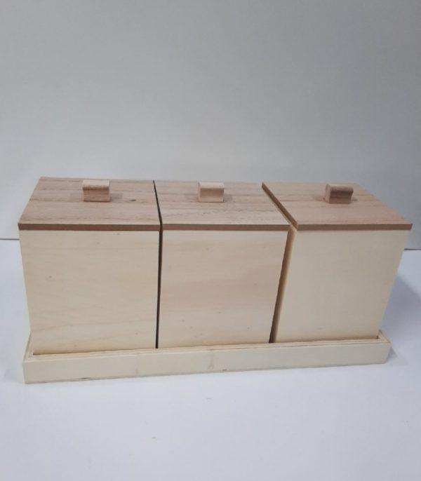 ΣΕΤ 3 ΞΥΛΙΝΑ ΚΟΥΤΙΑ 10x10x14cm ΜΕ ΒΑΣΗ 32.5x12x2.5cm LG87795