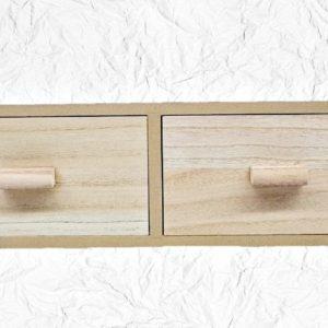 Ξύλινο Μακρόστενο Κομοδίνο με 2 Συρτάρια Μεγάλο LG87814  53x17x14.5cm