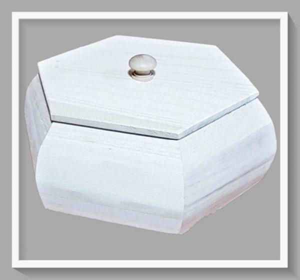 Ξύλινο Εξάγωνο Κουτί με καπάκι LG87858 25.5x21x18cm