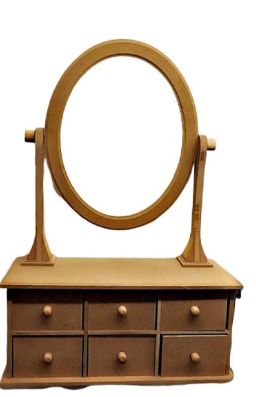 Ξύλινη Διακοσμητική Συρταριέρα με Καθρέφτη DF00498  60x40cm