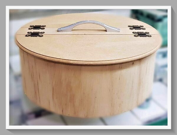 Ξύλινο Στρογγυλό  Διακοσμητικό με Χωρίσματα & Μεταλλικό Χερούλι  DF00499  34x34cm