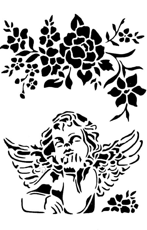 Στένσιλ Decofoam S012 - 30x21cm- Αγγελάκι & Λουλούδι