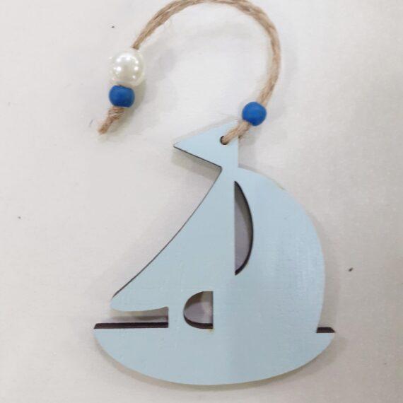 Διακοσμητικό Καραβάκι Γαλάζιο 5.5cm